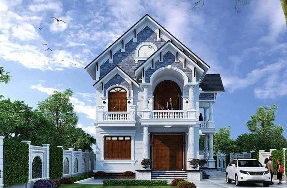 Thiết kế biệt thự 2 tầng mái chéo họa tiết tân cổ điển