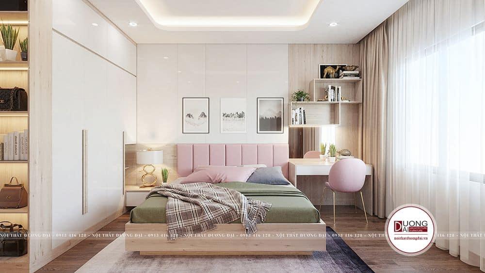 Không gian phòng ngủ của bé được thiết kế tone màu hồng ngọt ngào
