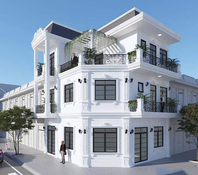 Biệt thự 4 tầng mái bằng kết hợp tân cổ điển