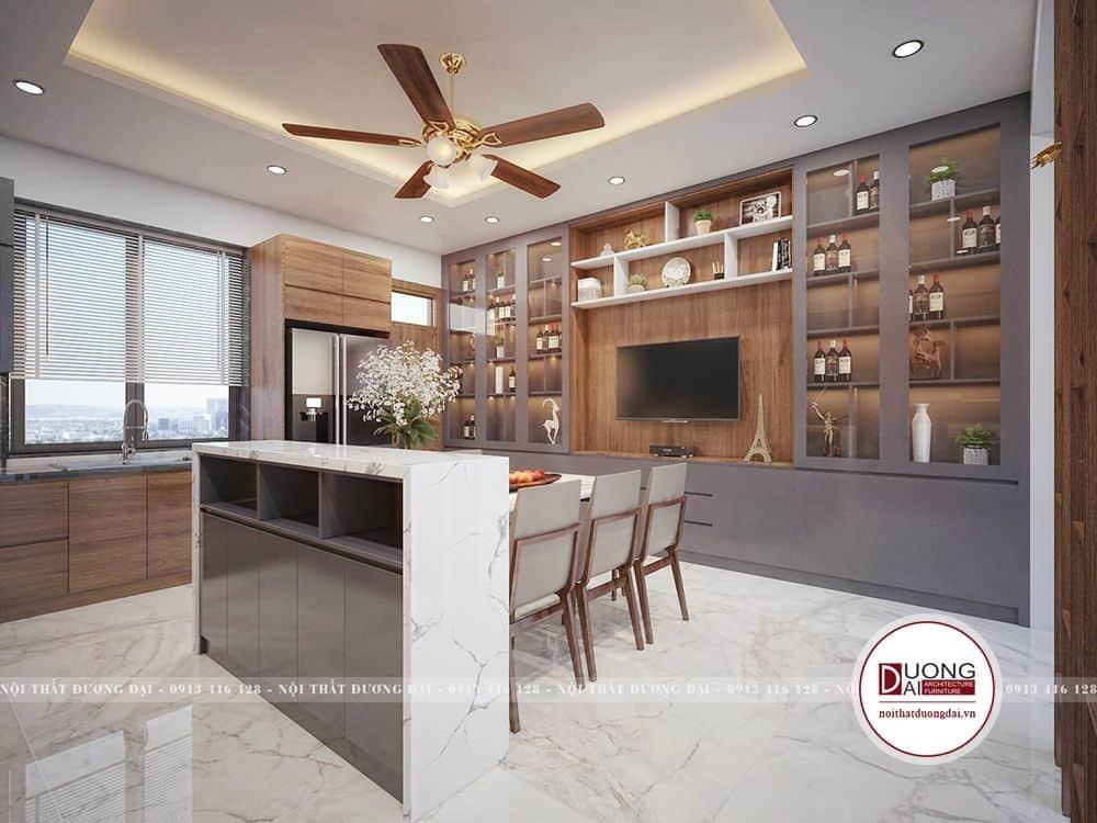 Không gian phòng khách bếp đẹp với tủ rượu ấn tượng