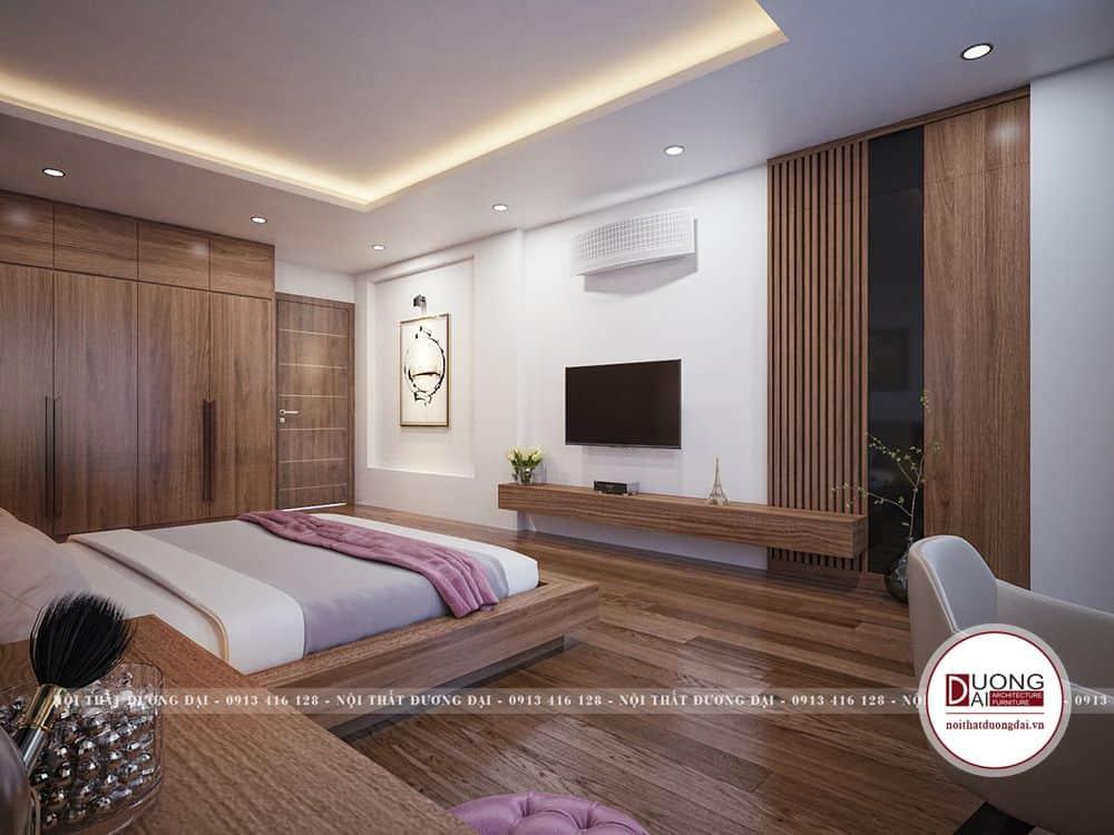 Màu gỗ trầm ấm và sang trọng, sạch sẽ rất thích hợp không gian phòng ngủ