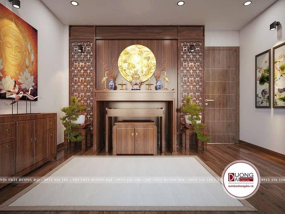 Không gian phòng thờ cũng sử dụng màu gỗ tạo nên sự trang nghiêm và sạch sẽ