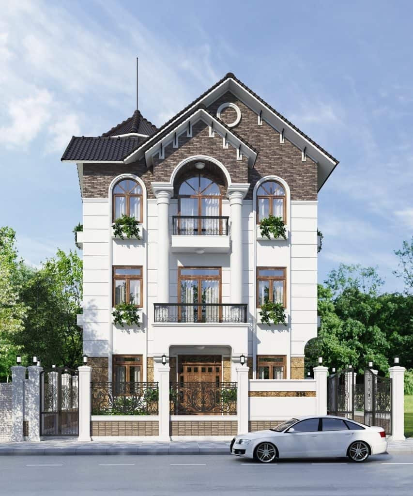 Biệt thự 4 tầng đẹp ấn tượng phong cách tân cổ điển