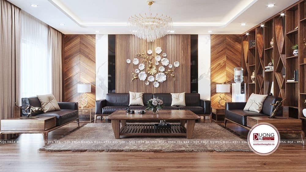 Không gian rộng rãi và rất bề thế với bộ sofa da cao cấp