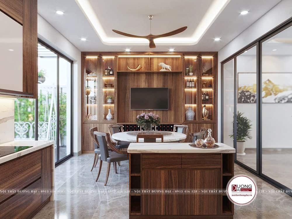Không gian phòng bếp có tủ rượu kết hợp tủ kệ tivi trang trí