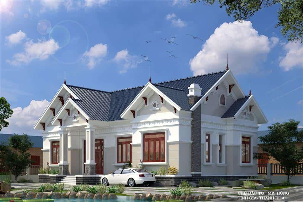 Kiến trúc tân cổ điển với mái thái sang trọng có hình chữ L