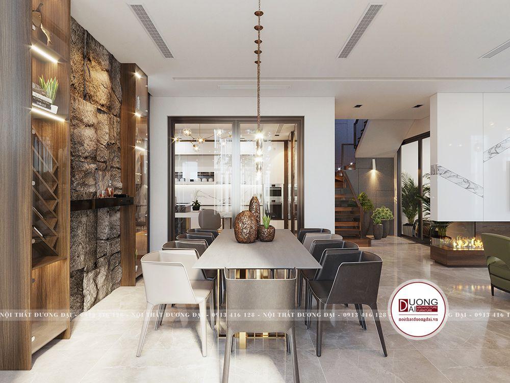 Không gian phòng bếp tiện nghi và có tủ rượu sang trọng như một điểm nhấn cho không gian