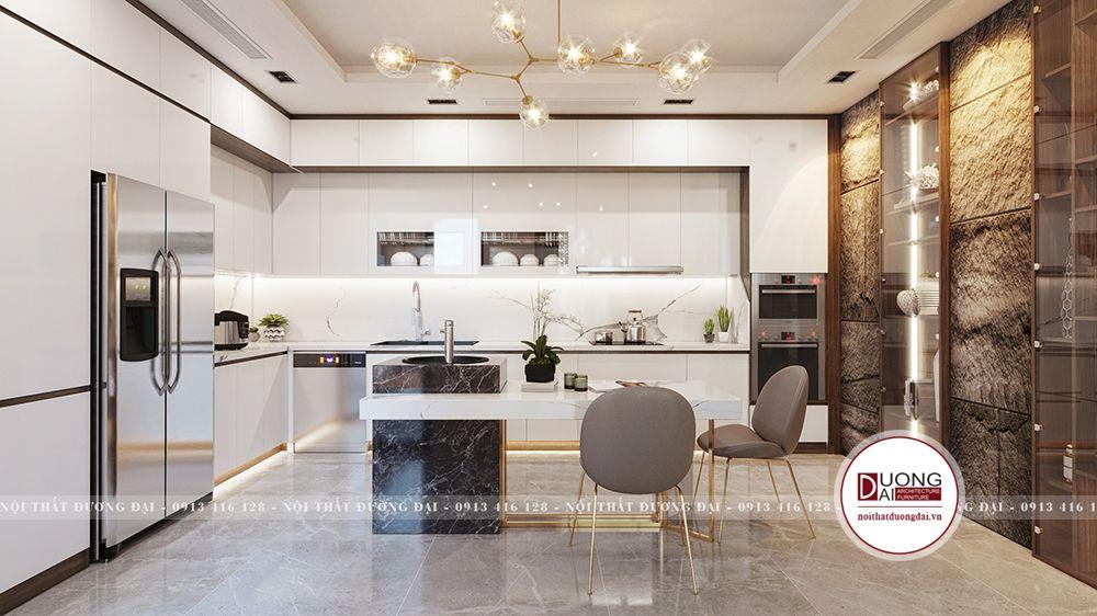 Không gian phòng bếp thiết kế chữ L tối ưu tiện nghi