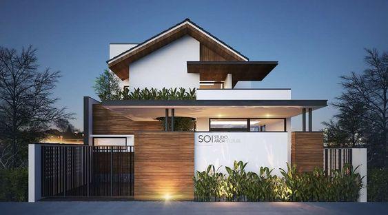 Thiết kế biệt thự nhà vườn 1 tầng 1 tum kết hợp không gian xanh mát