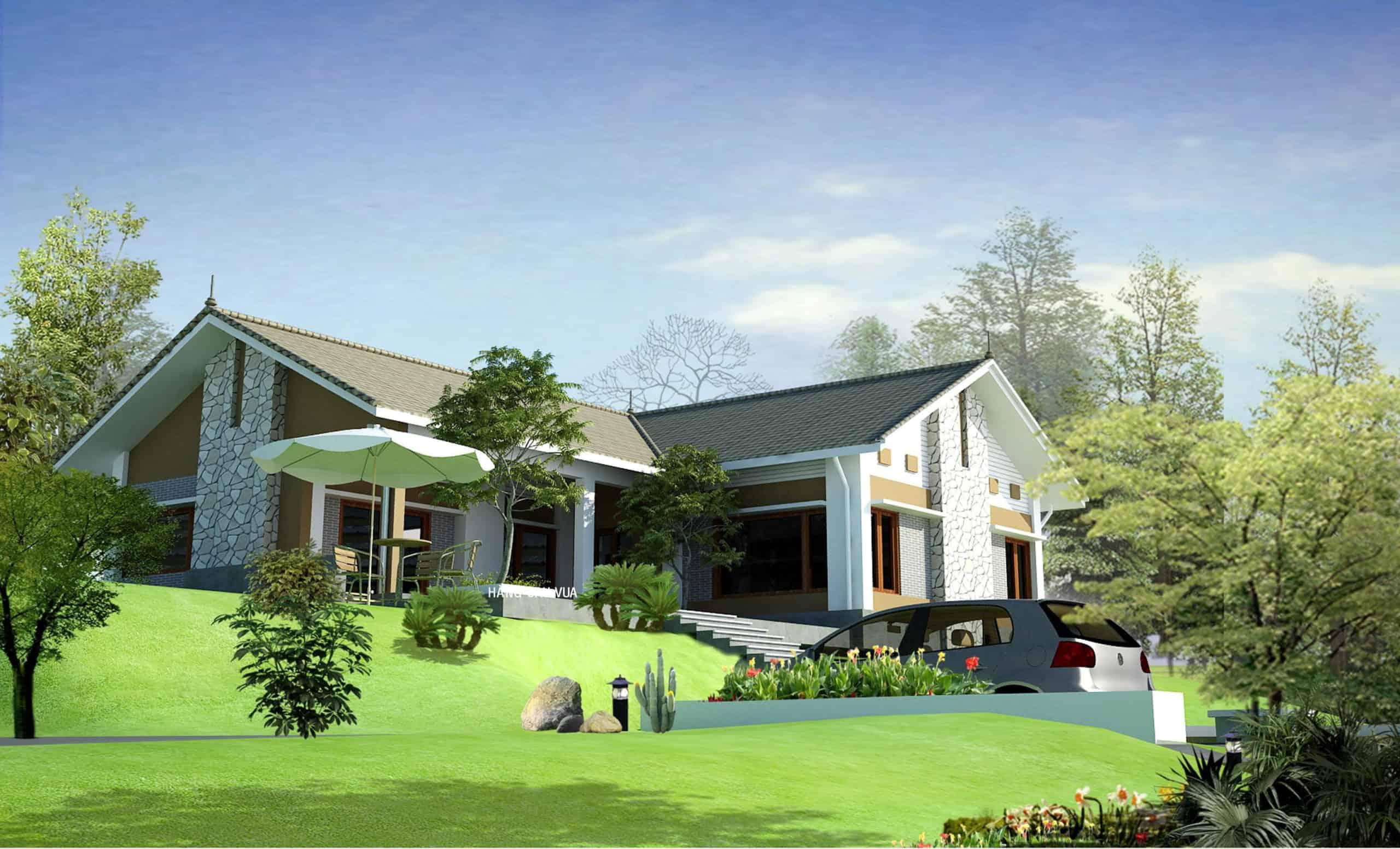 Nhà vườn với các thảm cỏ xanh mát đầy nên thơ