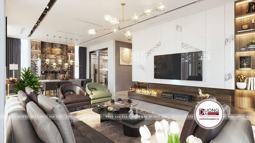Không gian phòng khách được thiết kế ấn tượng và sang trọng