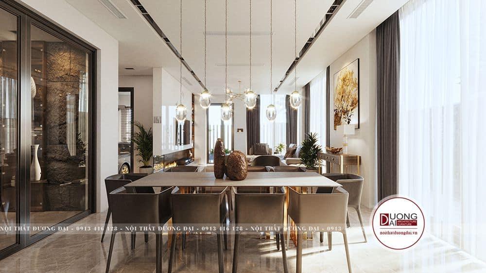Thiết kế nội thất phòng bếp đầy đủ và tiện nghi