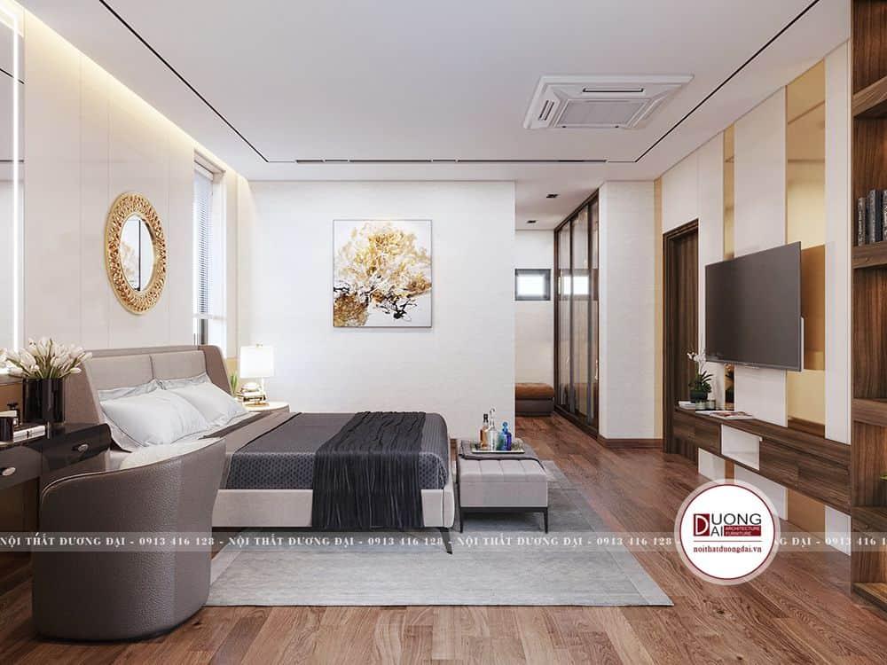 Thiết kế không gian phòng ngủ rộng rãi với nội thất tối giản