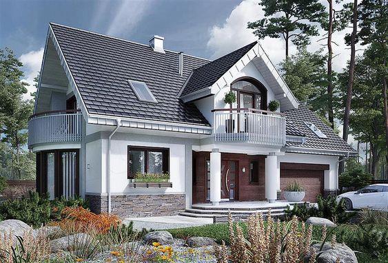 Thiết kế nhà có tầng mái độc đáo với ban công trên cao