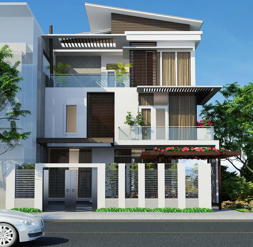 Biệt thự phố 8x20 3 tầng phong cách hiện đại