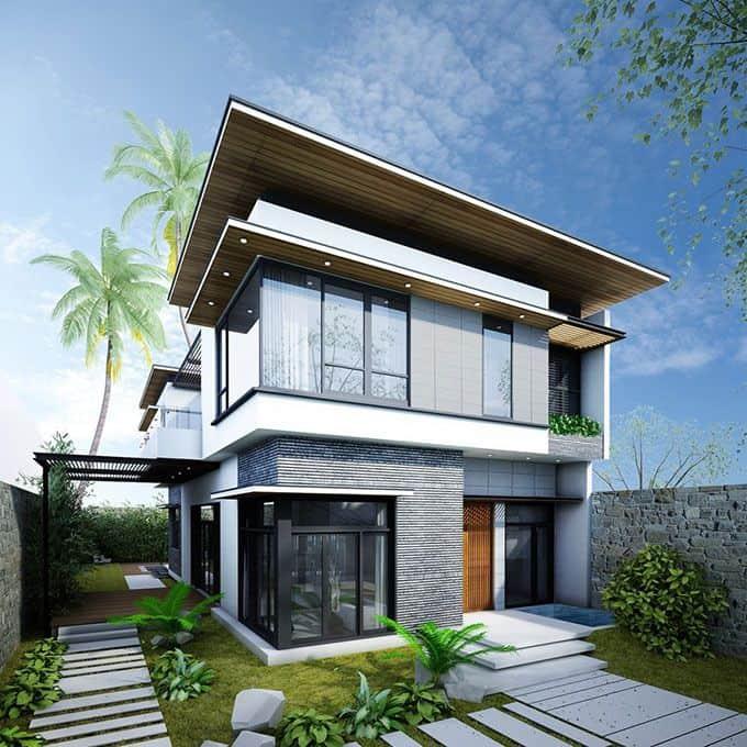 Thiết kế biệt thự mái bằng 2 tầng hiện với chất liệu kính cường lực