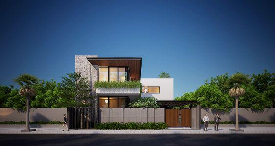 Kết hợp không gian xanh trong biệt thự 2 tầng mái bằng