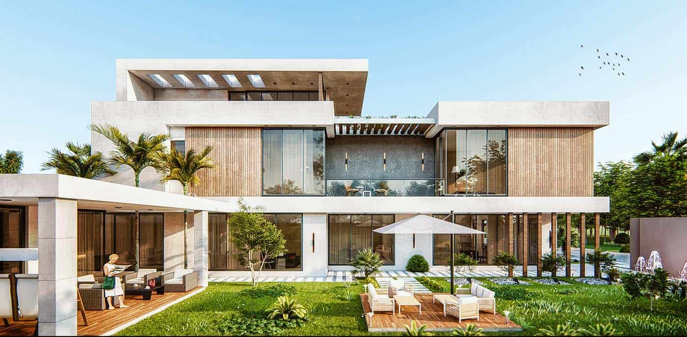 Thiết kế biệt thự với không gian xanh mát tạo sự gần gũi với thiên nhiên