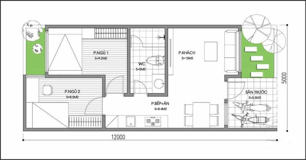 Nhà Mái Thái 2 Phòng Ngủ Được Xây Dựng Nhiều Nhất Ở Quê