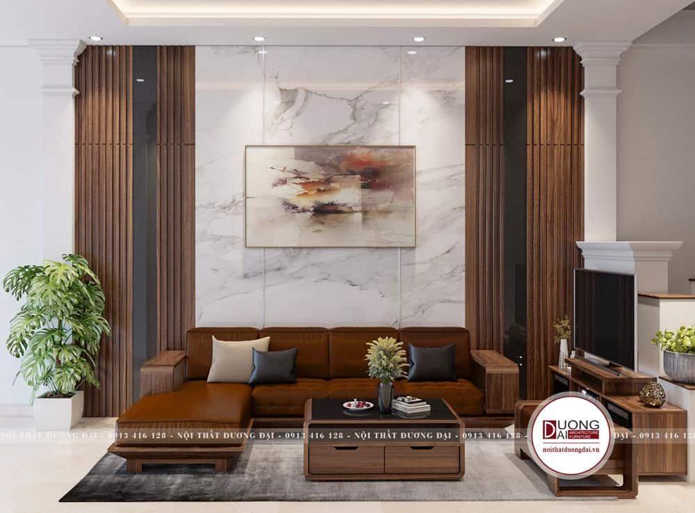 Thiết kế không gian phòng khách với màu gỗ ấn tượng
