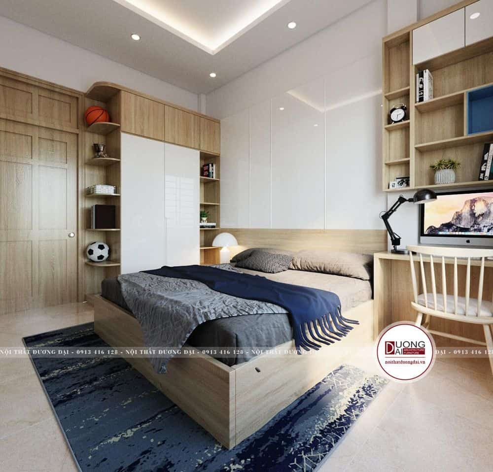 Thiết kế không gian phòng ngủ với sự ấn tượng và ấm áp