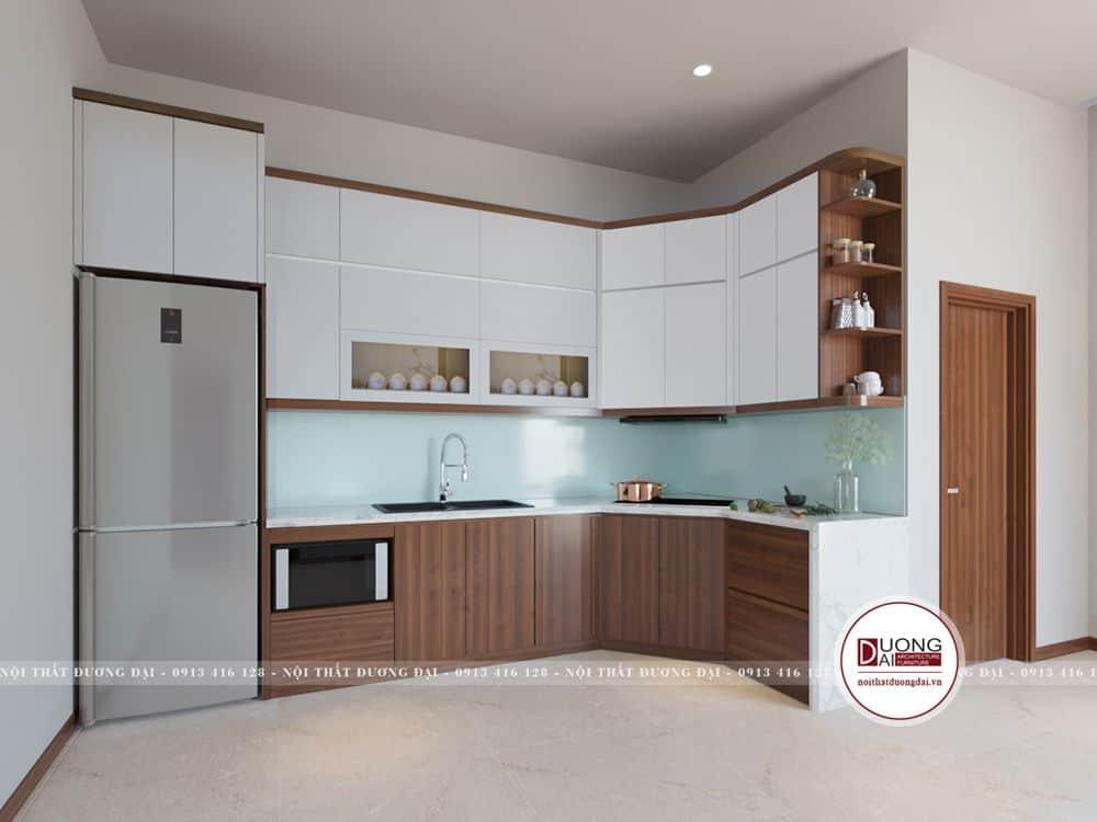 Thiết kế không gian phòng bếp đơn giản, gọn gàng và rất công năng