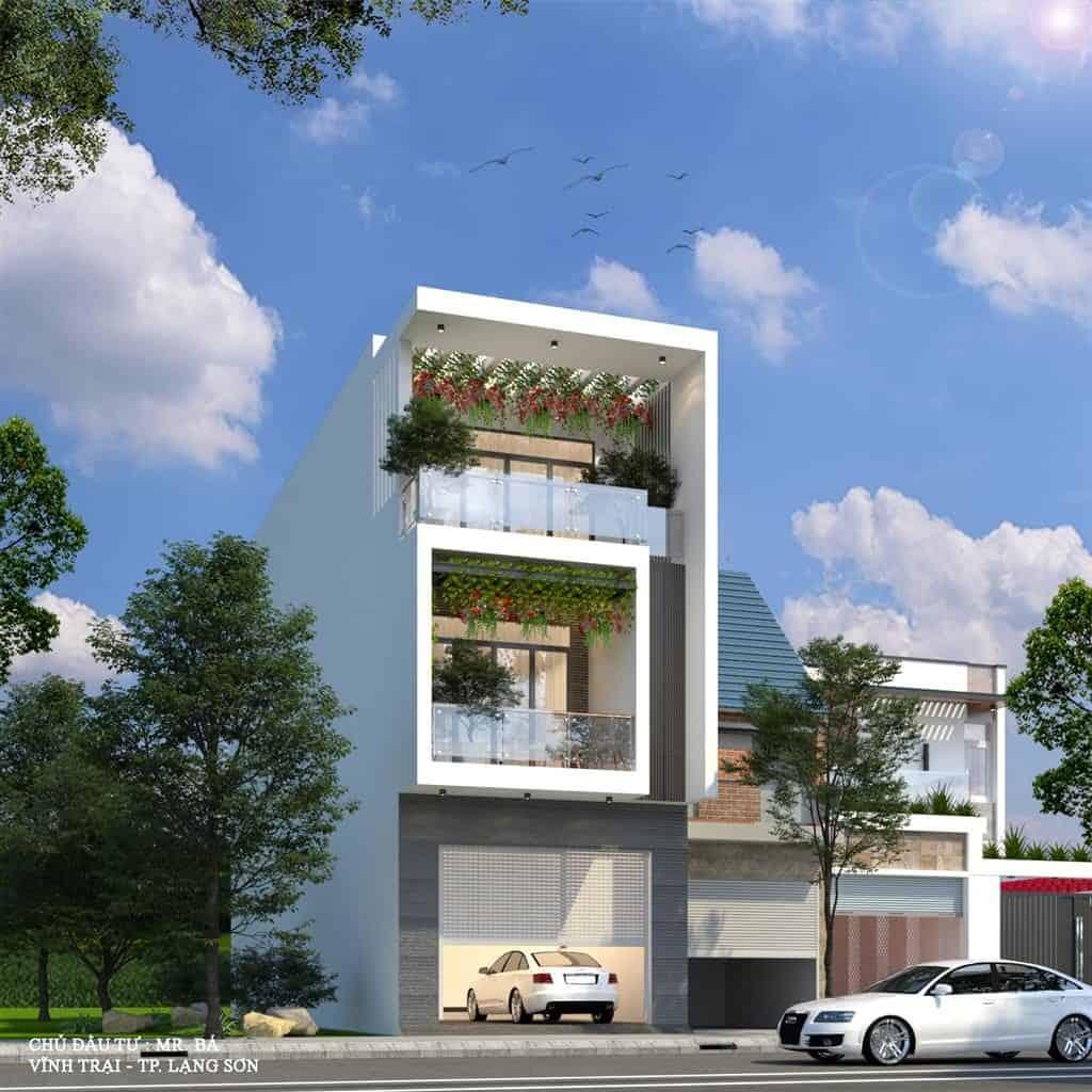 Thiết kế nhà ống 3 tầng 3 phòng ngủ mái bằng hiện đại