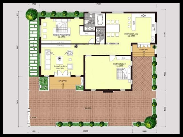nhà vườn 1 tầng 2 phòng ngủ