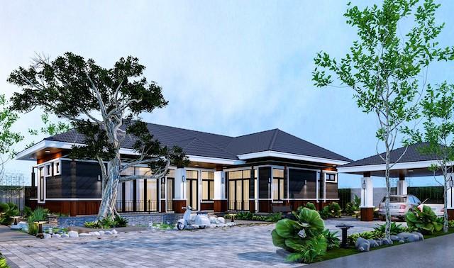 Thiết kế không gian nhà vườn đẹp mái thái nổi bật ấn tượng