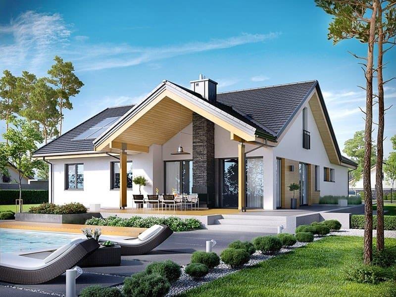 Kiến trúc biệt thự kiểu Mỹ với mái nhà dốc và mặt tiền rộng