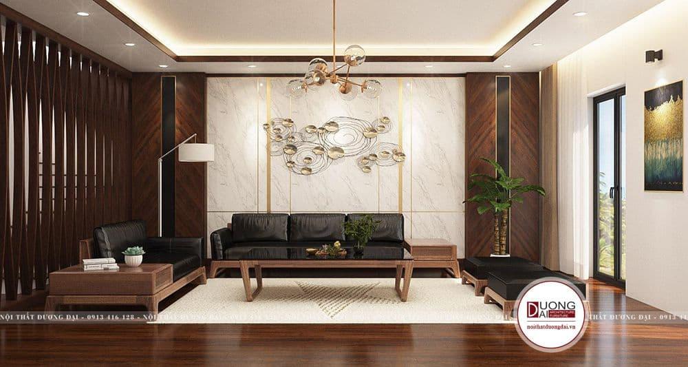 Khu vực phòng khách với bộ sofa chữ U kết hợp cùng bàn trà dài