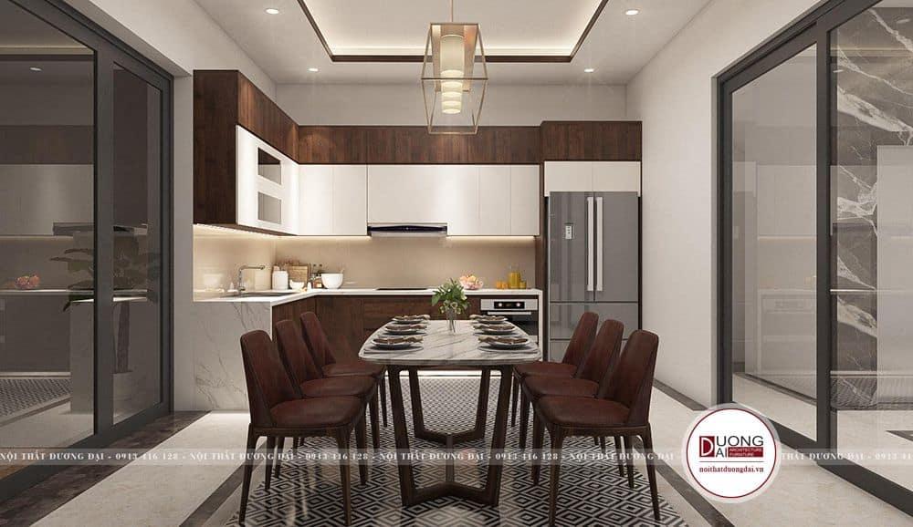 Thiết kế phòng bếp ăn với bộ bàn ăn 6 chỗ ngồi bàn mặt đá sang trọng