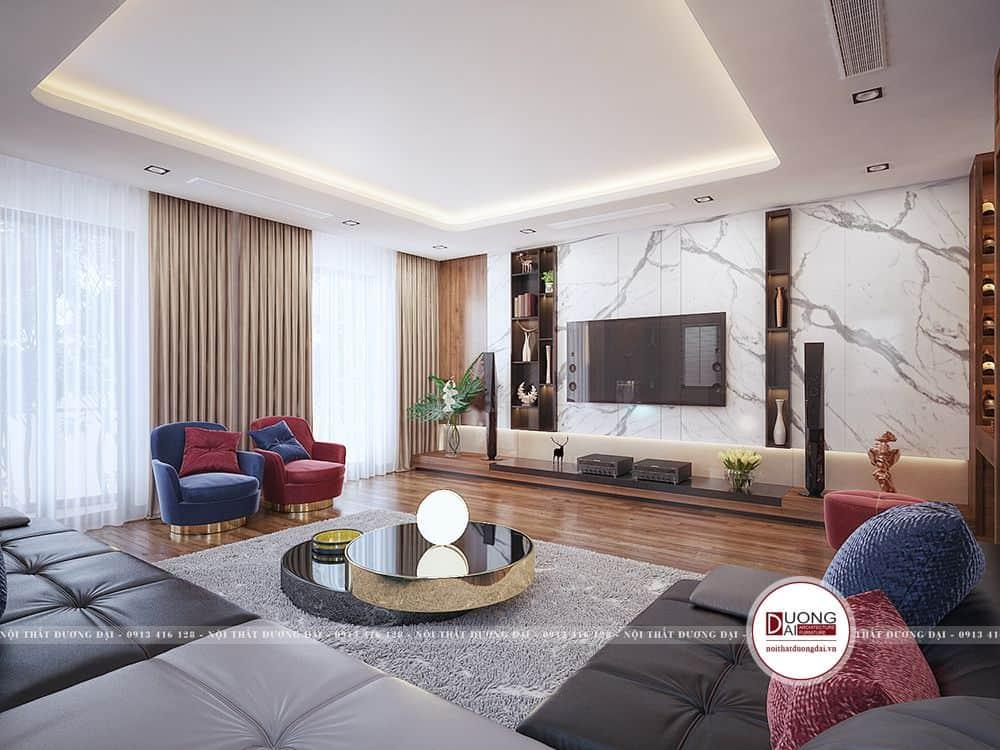 Không gian phòng khách với thiết kế rộng rãi
