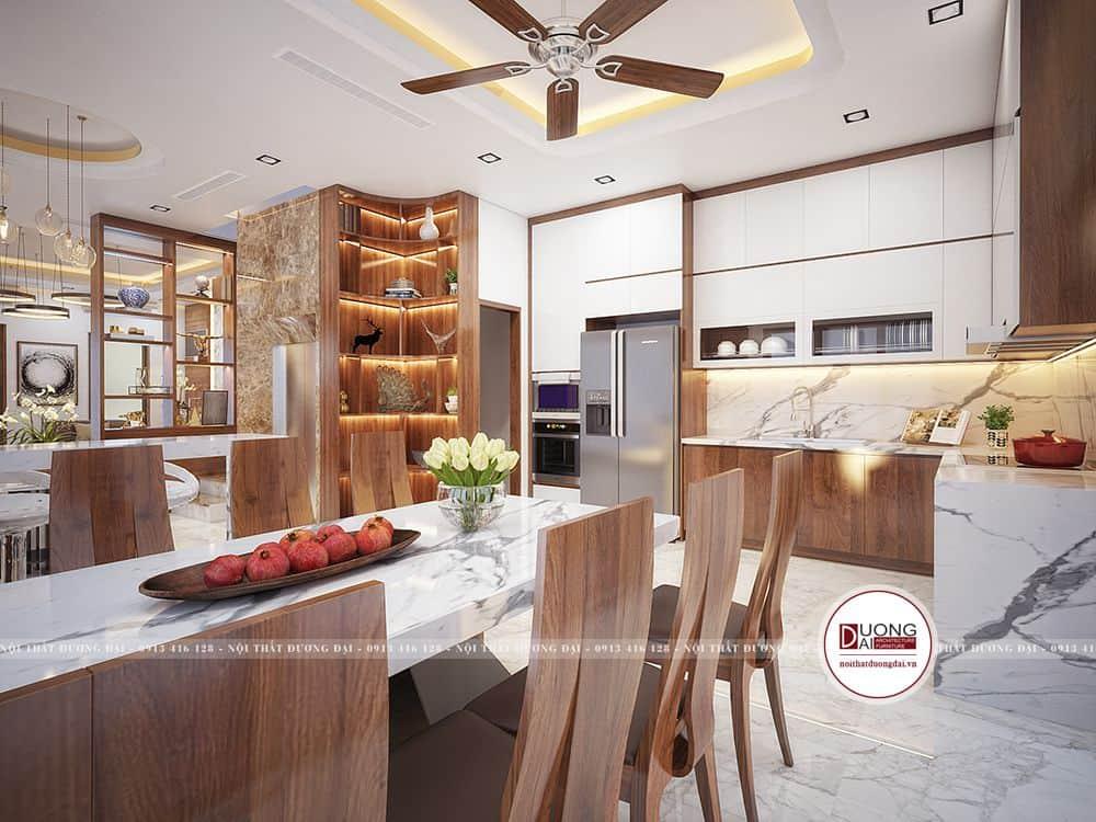 Không gian phòng khách bếp thiết kế khoa học, phong thủy