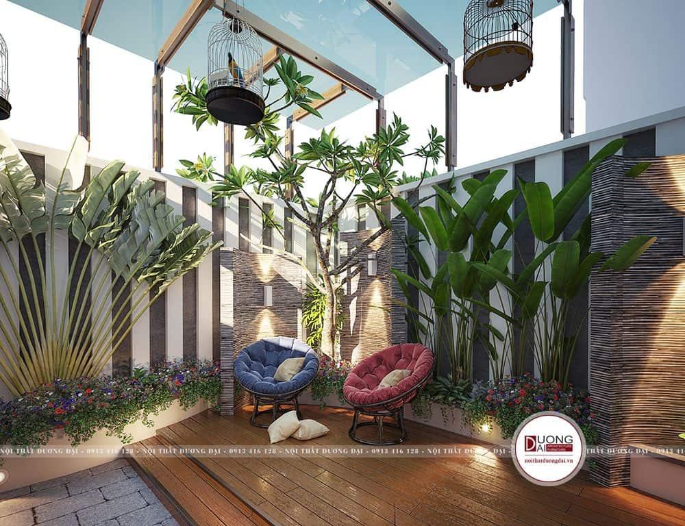 Một góc nhỏ sân vườn với khu vực nghỉ ngơi, thư giãn