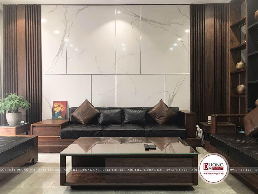 Bộ sofa gỗ óc chó với nâu trầm tinh tế và độ bền tuyệt hảo