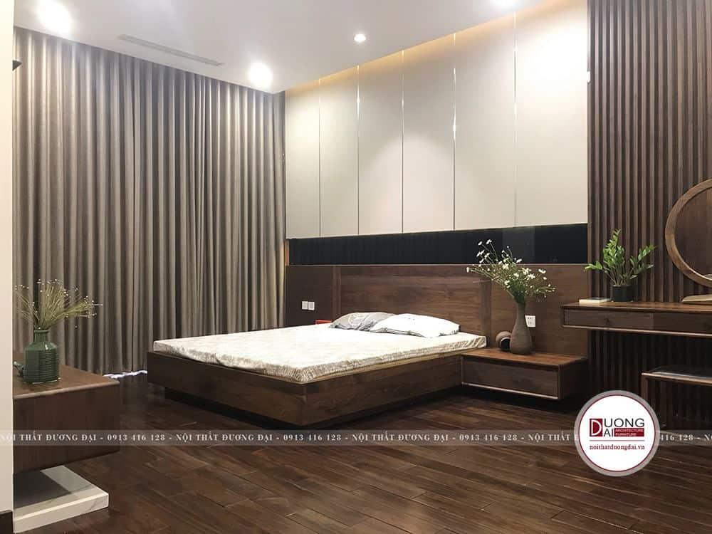 Giường nủ gỗ óc chó đầy tính thẩm mỹ