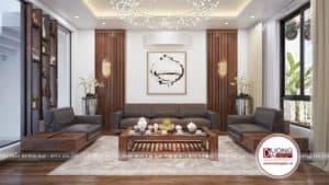 Bộ sofa đen gỗ óc chó cao cấp và sang trọng