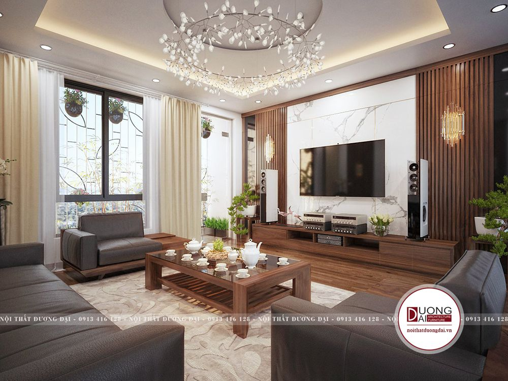 Phòng khách trang nhã với nội thất gỗ óc chó