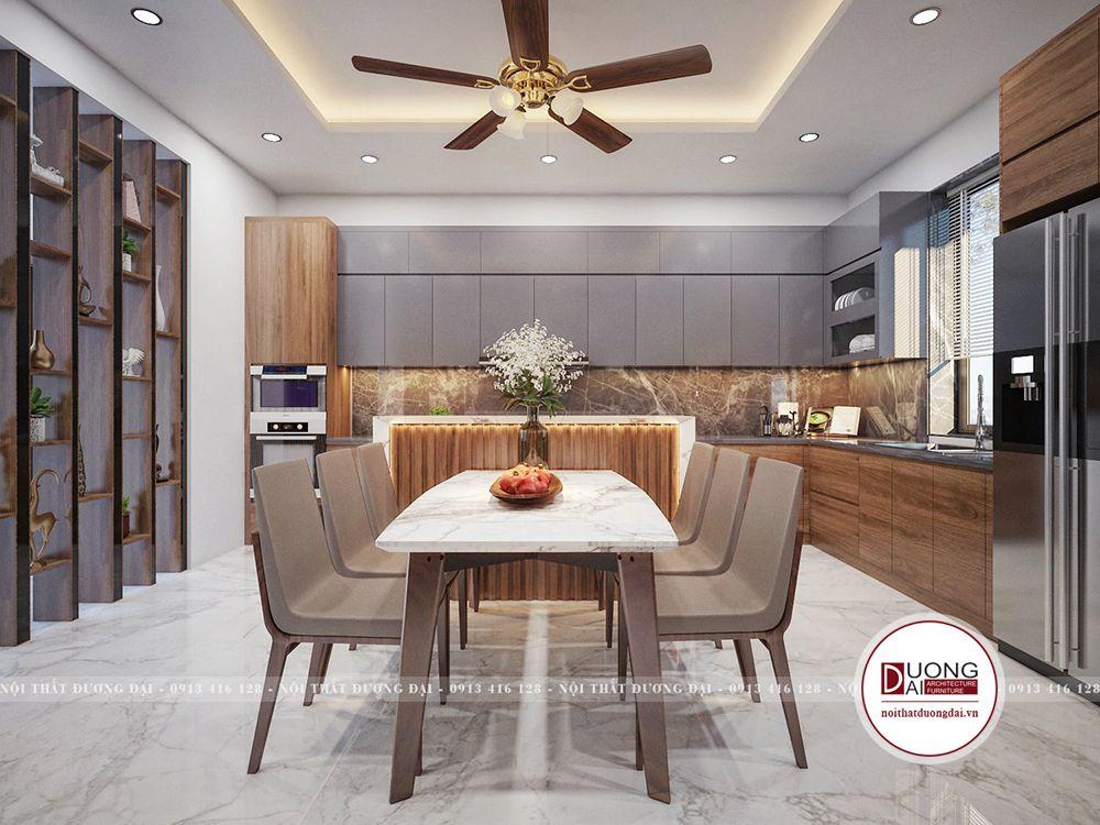 Phòng bếp cho nhà phố đầy hiện đại với chất liệu gỗ MFC màu ghi và nâu