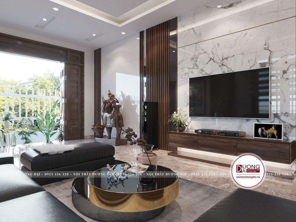 Phòng khách sang trọng với bộ sofa da màu đen