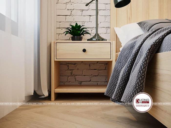 Kệ đầu giường nhỏ xinh và trang nhã từ gỗ sồi