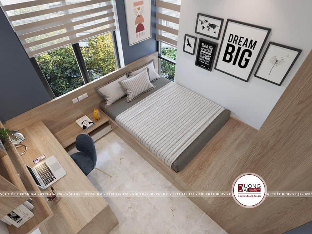 Nội thất phòng ngủ được nối liền thành một khối thống nhất
