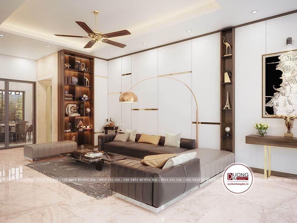 Không gian phòng khách thiết kế với sự thoáng rộng với tủ trang trí ấn tượng
