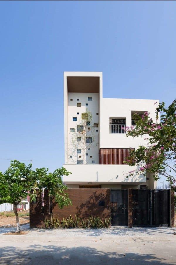 Ngoại thất thiết kế biệt thự 7x20m 2 tầng 1 tum