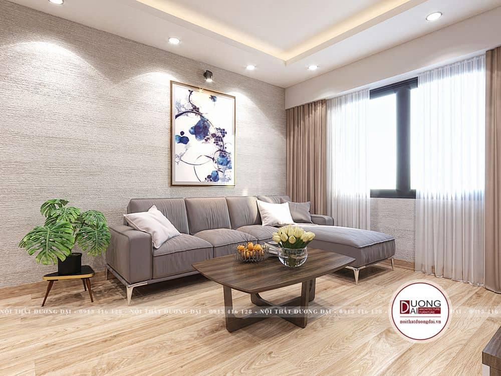 Phòng khách trang nhã với bộ sofa màu ghi sáng