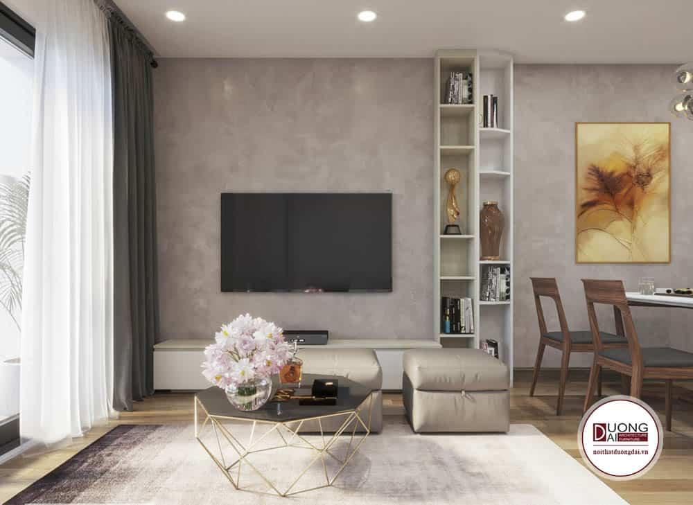 Phòng khách hiện đại với nội thất nhỏ gọn tiết kiệm diện tích