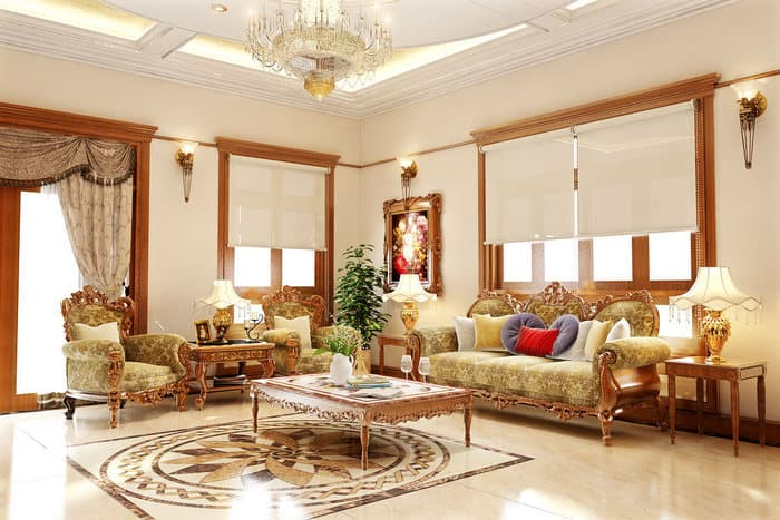 Phong cách tân cổ điển của phòng khách sang trọng