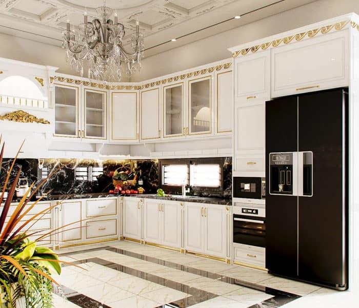 Không gian bếp nhỏ nhưng thể hiện trọn vẹn phong cách tân cổ điển