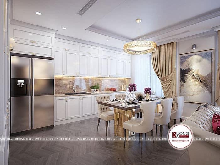 Nội thất bếp tỉ mỉ và sang trọng với màu trắng cao quý, ấn tượng